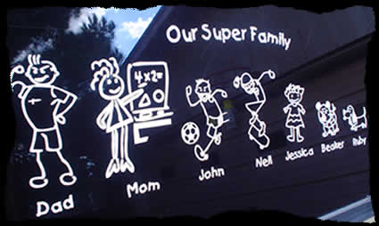 family sticker on car glass